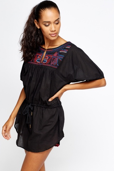 Embroidered Drawstring Top