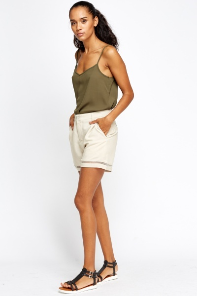 High Waist Mesh Trim Shorts