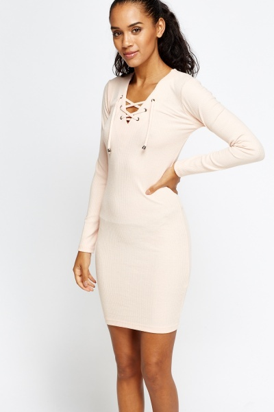 Lace Up Neck Ribbed Mini Dress