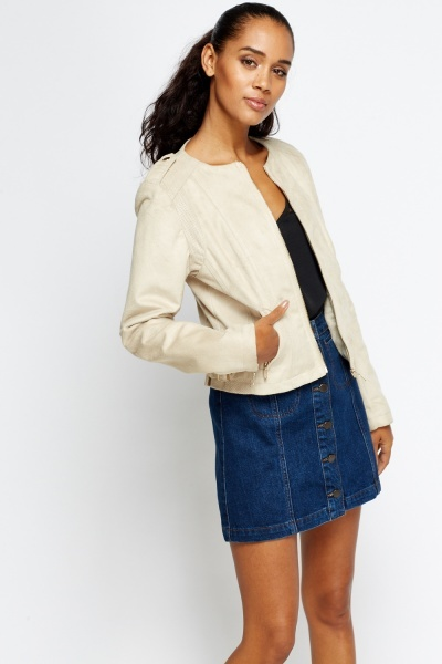 Perforated Trim Suedette Jacket