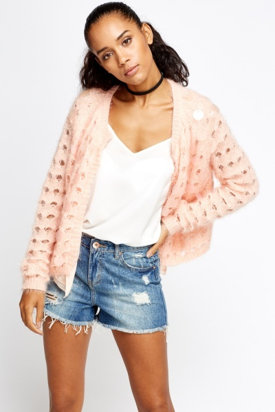 Sequin Cut Out Cardigan
