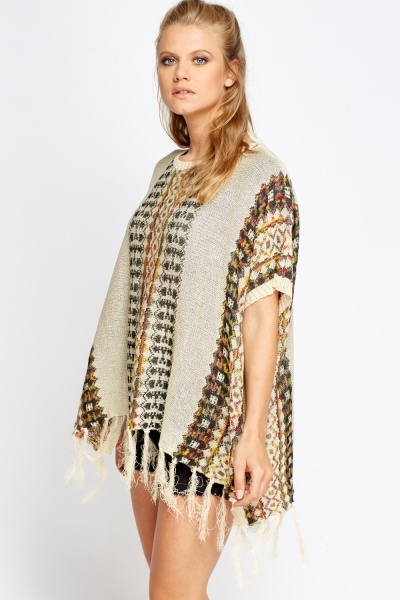 Aztec Knitted Poncho