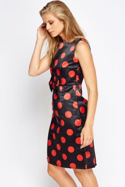 Bow Waist Polka Dot Dress