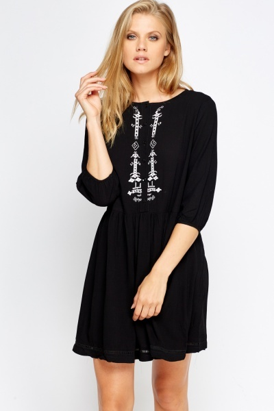 Embroidered Button Neck Dress