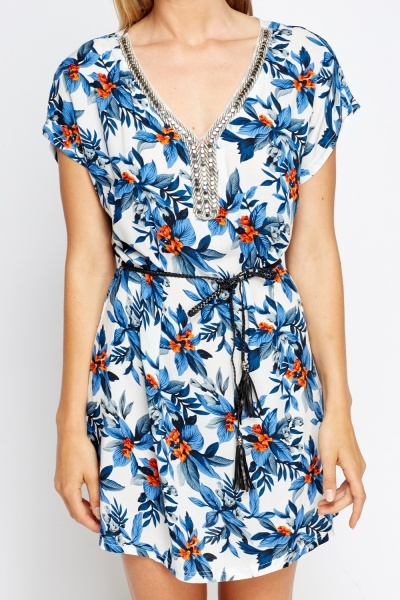 Encrusted Neck Floral Tunic Dress