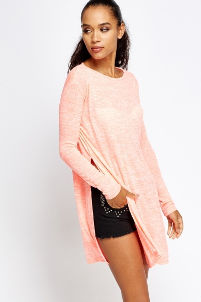 Speckled Slit Side Top
