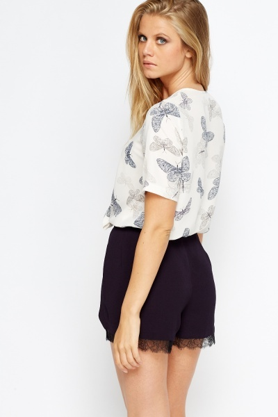 Butterfly Print Wrap Top