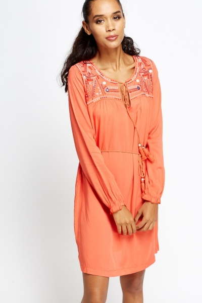 Embroidered Shoulder Dress