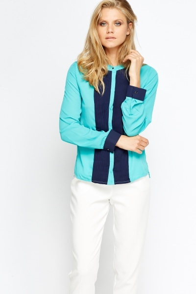 Mono Pleated Front Panel Blouse