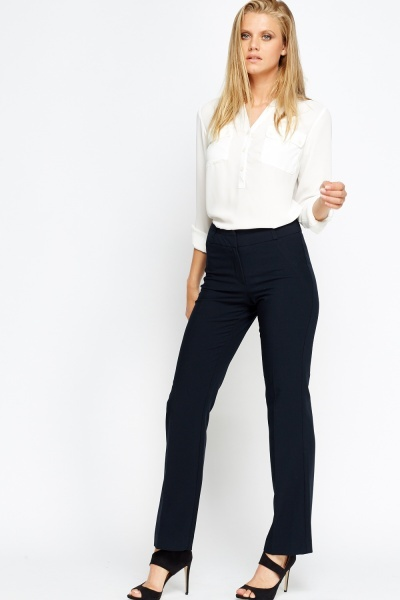 Navy Straight Leg Trousers