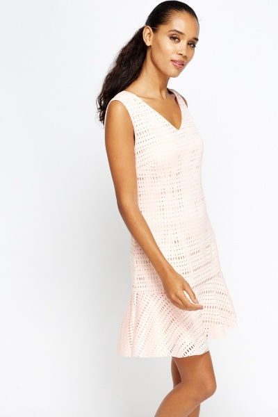 Ruffle Hem Laser Cut Dress
