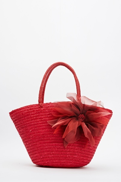 Basket Weave Flower Bucket Bag