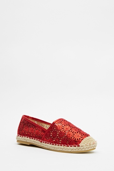 Encrusted Cut Out Espadrilles