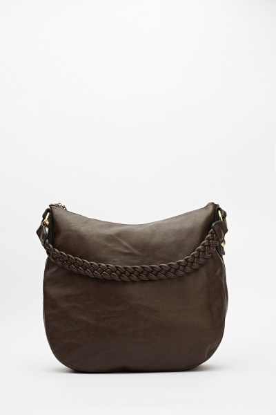 Faux Leather Braided Handle Handbag