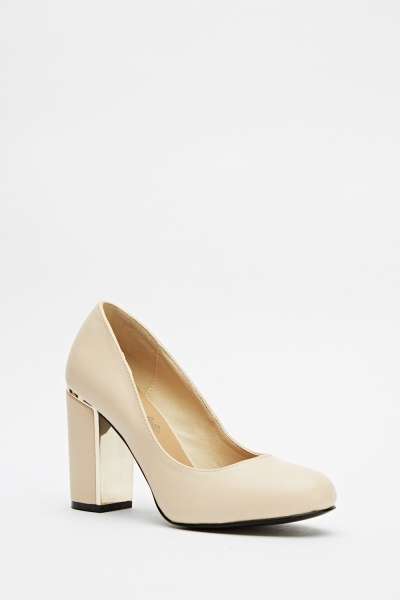 Gold Detail Block Heels