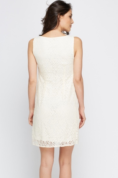 Cream Lace Overlay Dress