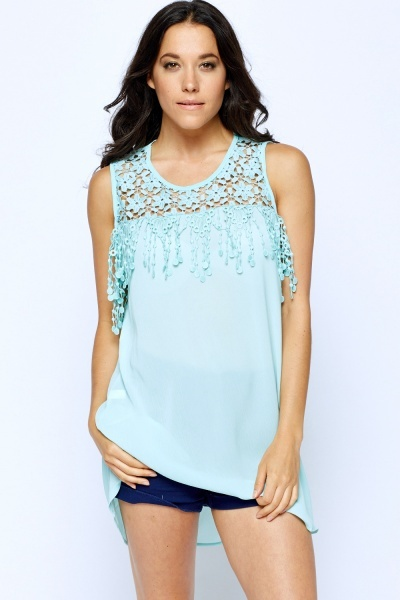Crochet Shoulder Long Top