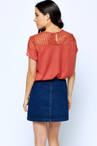 Crochet Shoulder Rust Top