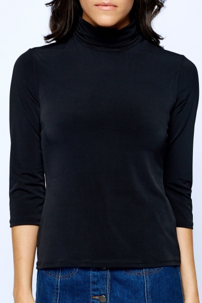 Cropped Basic Turtle Neck Top