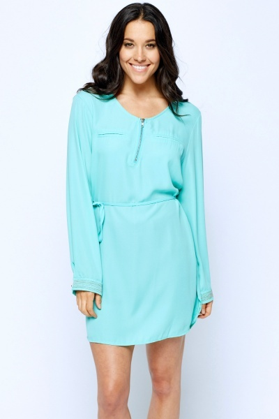 Encrusted Cuff Mini Tunic Dress