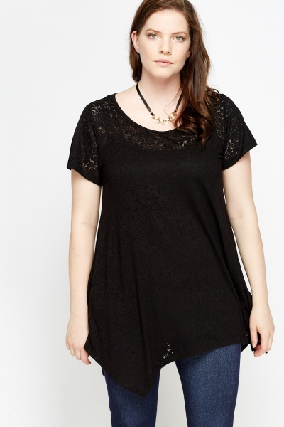 Mesh Floral Casual Black Top