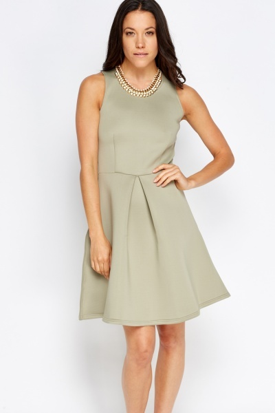 Pleated Midi Scuba Dress