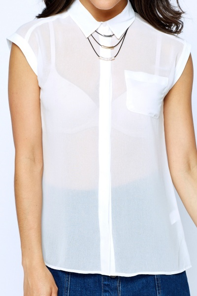 Sleeveless Sheered Blouse