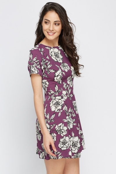 Violet Floral Shift Dress