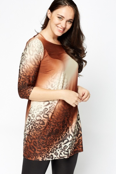 Animal Print Faded Hem Tunic