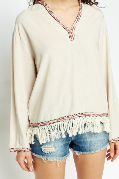 Aztec Trim Tassel Top