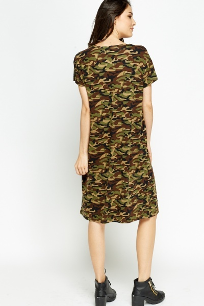 Distressed Front Camo Dress