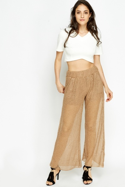 Mesh Overlay Wide Leg Trousers