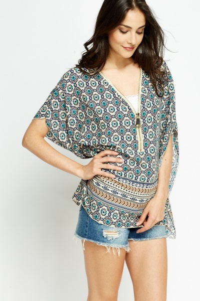 Mix Print Zip Neck Top