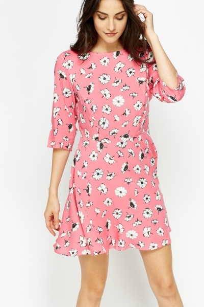 Pink Floral Mini Swing Dress