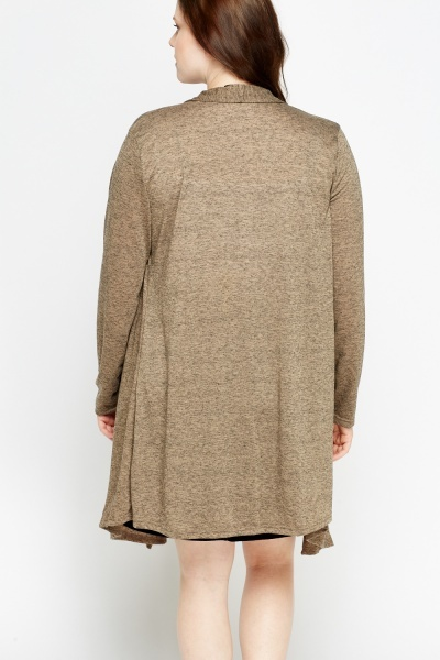 Speckled Khaki Long Cardigan