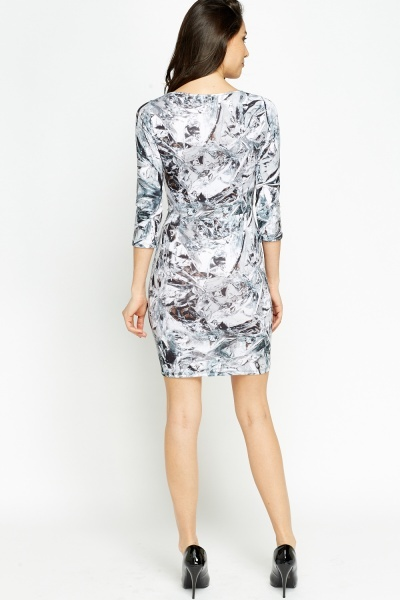 Zip Up Waist Printed Mini Dress