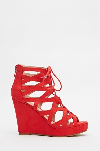 Cut Out Suedette Wedge Sandals
