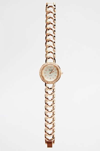 Encrusted Chain Strap Watch