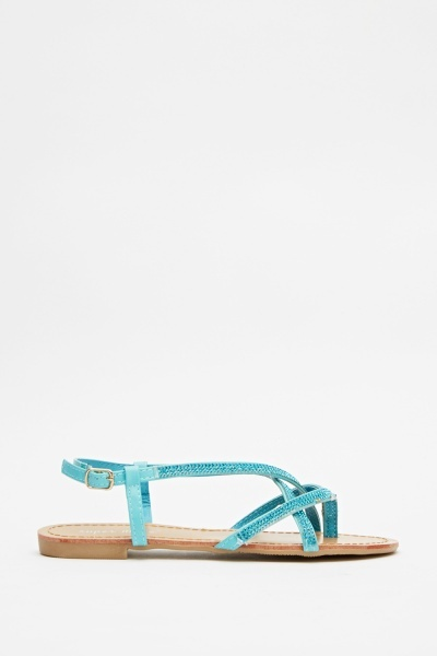 Encrusted Crossed Strap Sandals