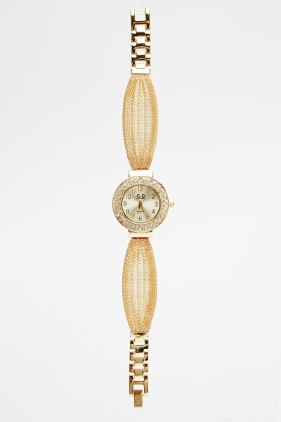 Encrusted Face Chain Strap Watch