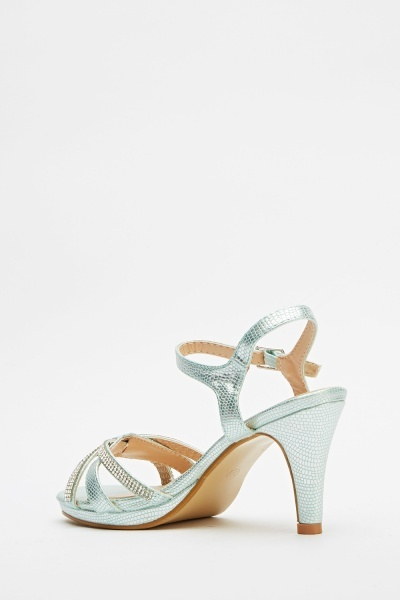 Encrusted Front Heeled Sandals