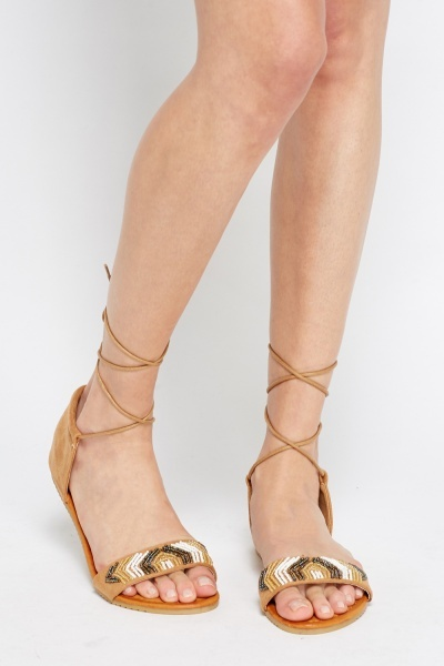 Encrusted Lace Up Sandals