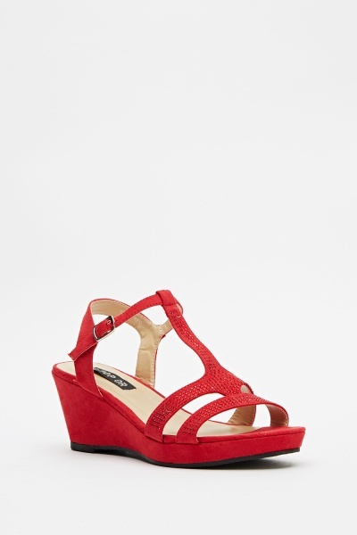 Encrusted Suedette Wedge Sandals