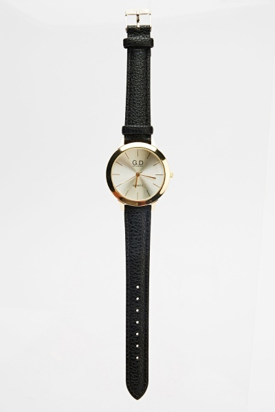 Faux Leather Gold Trim Watch