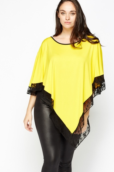 Basic Lace Trim Poncho Top