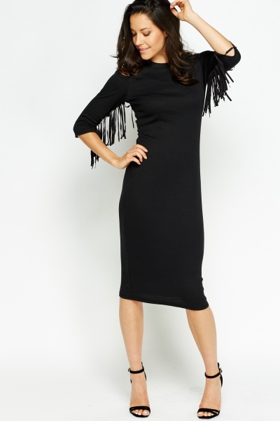 Cut Out Fringed Sleeves Dress