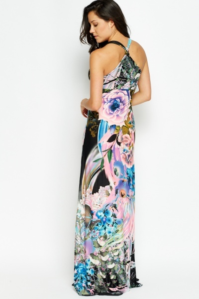 Encrusted Waist Multi Maxi Dress