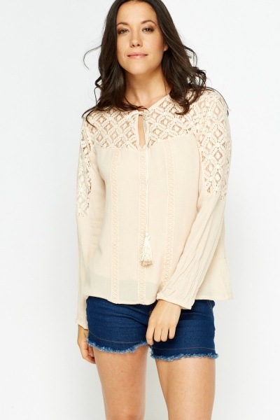Mesh Insert Tie Up Blouse