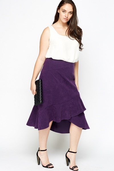Purple Suedette Ruffled Midi Skirt