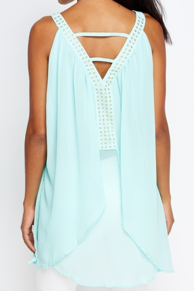Detailed Halter Neck Layered Top